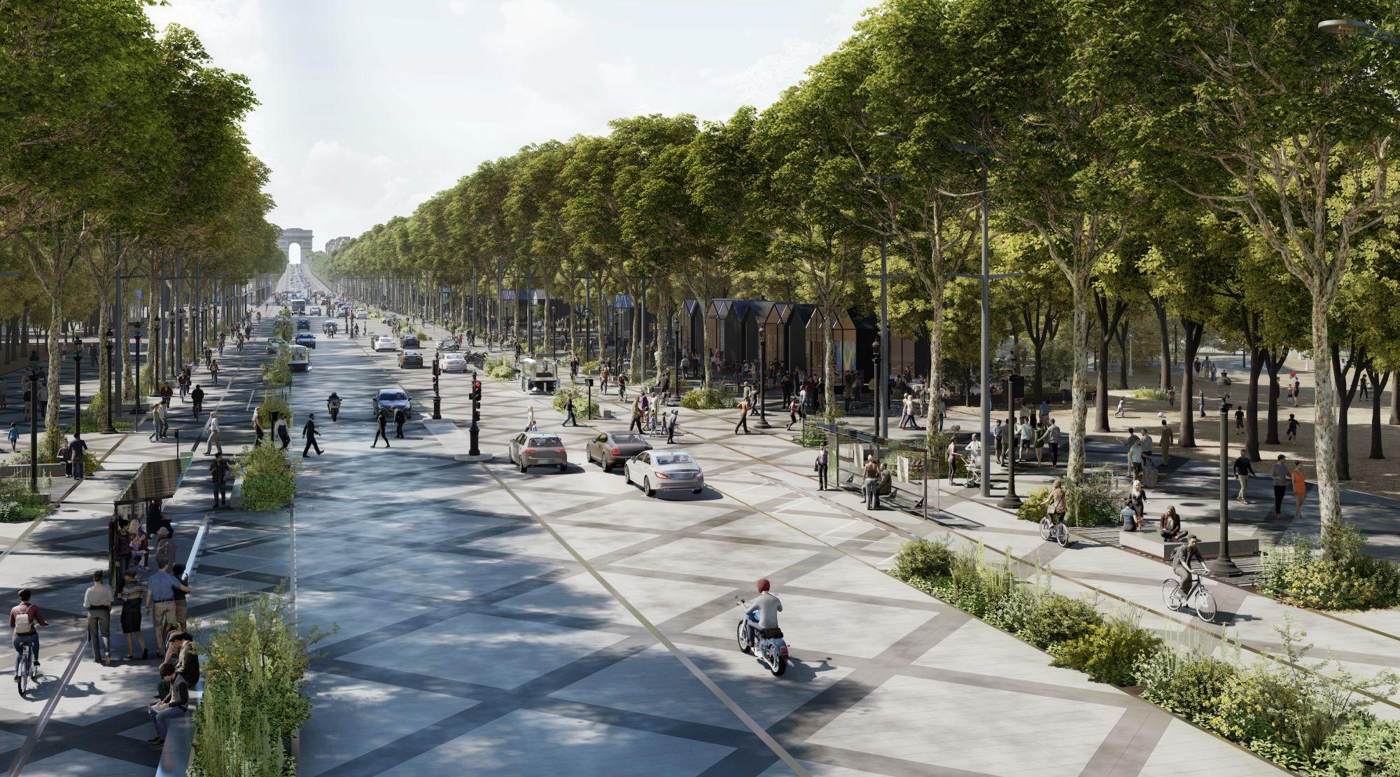 Paris Dreams of a Calmer, Greener Champs Elysées Photo