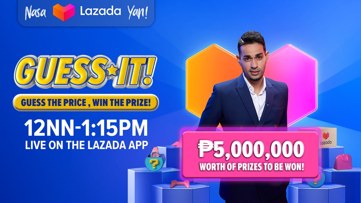 It's the comeback you've all been waiting for 👌 GUESS IT, hosted by @sam_yg is LIVE NOW on your #LazadaPH app!   Don't miss your chance to win from over ₱5,000,000 worth of prizes to be given away. Guess the price, win the prize! #LazadaPHGuessIt