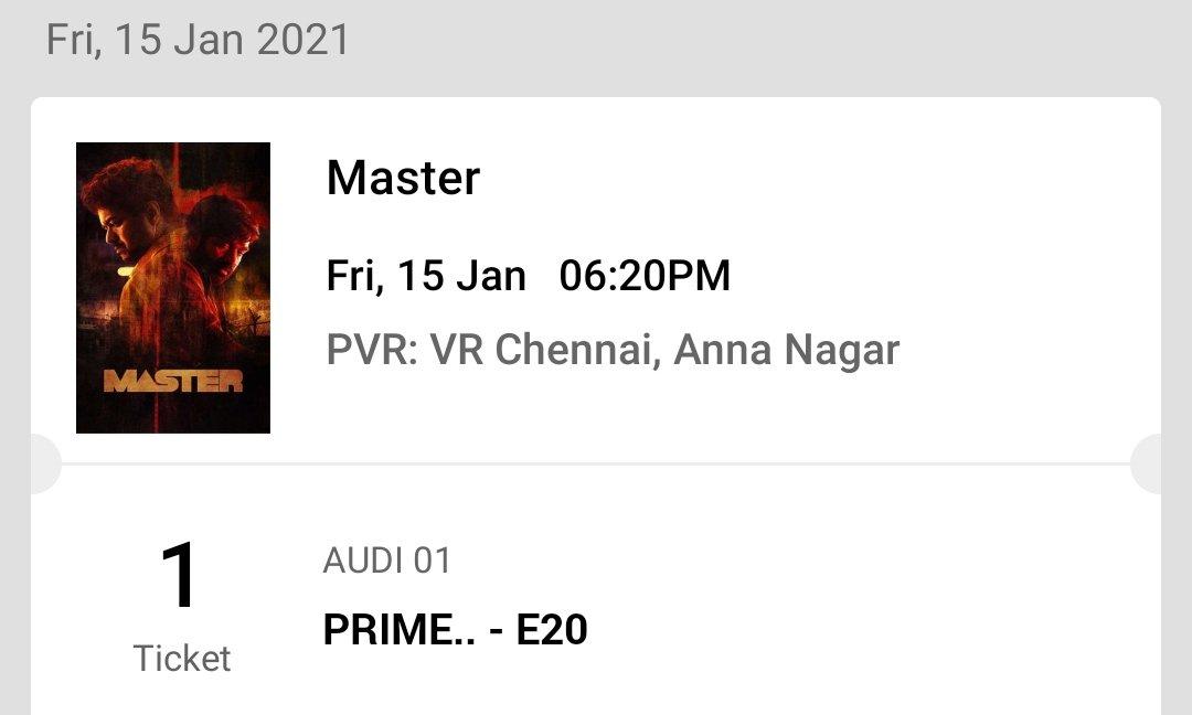 @kasi_theatre @SilambarasanTR_ @vp_offl @sureshkamatchi Master 1 ticket available - Jan 15 6.20pm show ( PVR VR - XL screen ) Same counter price   DM me   #MasterFDFS #MasterReview #MasterPongal #MasterTeaser #masterupdate #mastertickets #MasterRaid #master #master