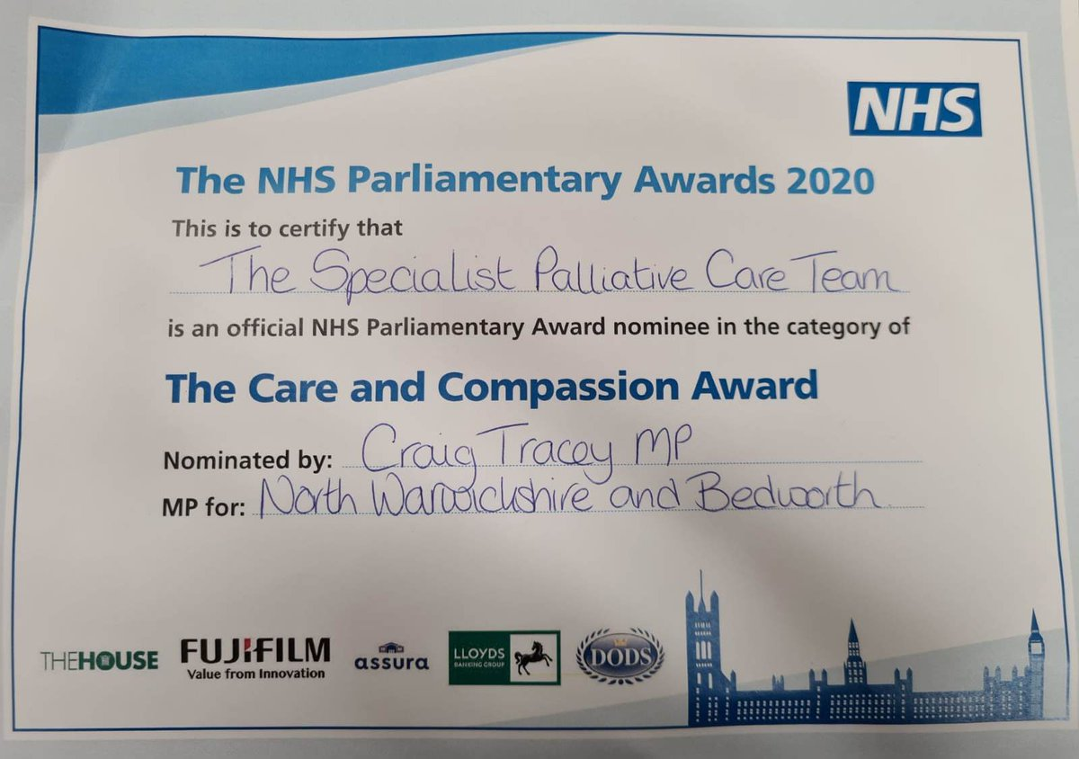 We were honoured to receive this in the post today.  Thank you @craig4nwarks for the nomination! @CatherineFree3 @daljitathwal @GEHNHSnews @SherreeFagge