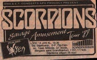 On This Day - January 14th 1989. We Let It Rock... You Let It Roll as the mighty Scorpions bring their Savage Amusement Tour to the Scandinavium, in Gothenburg, Sweden 🇸🇪. I wasn't there but I'll assume it was freakin' awesome @scorpions @primarywave @rudolfschenker https://t.co/m0RAuf0CLi
