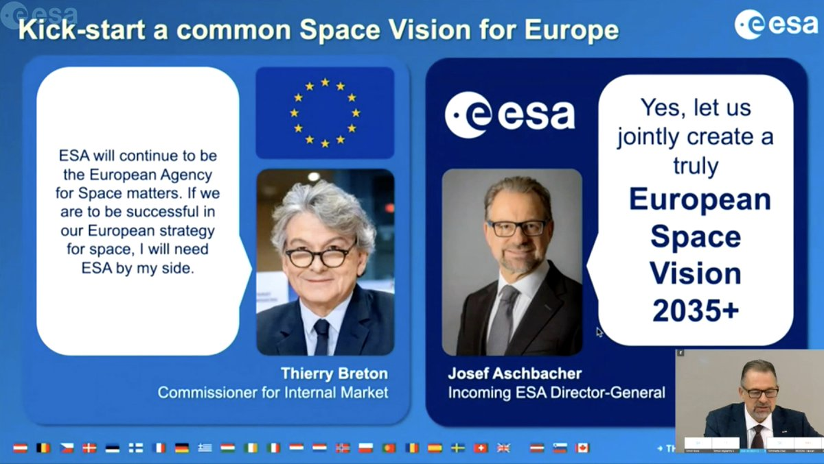During @esa press conference, incoming Director-General @AschbacherJosef recalled @ThierryBretons message delivered at the 13th European Space Conference and stressed the importance of a close ESA-EU collaboration for a joint European Space Vision 2035+