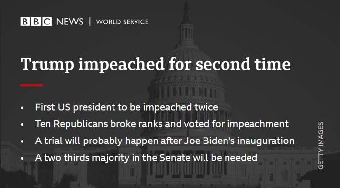 Donald Trump's second impeachment has made history. He now faces trial in the Senate, accused of inciting a riot at the US Capitol. 🇺🇸  But it's not the only consequence of last week's deadly storming of Congress…   THREAD 1/7 ⬇️