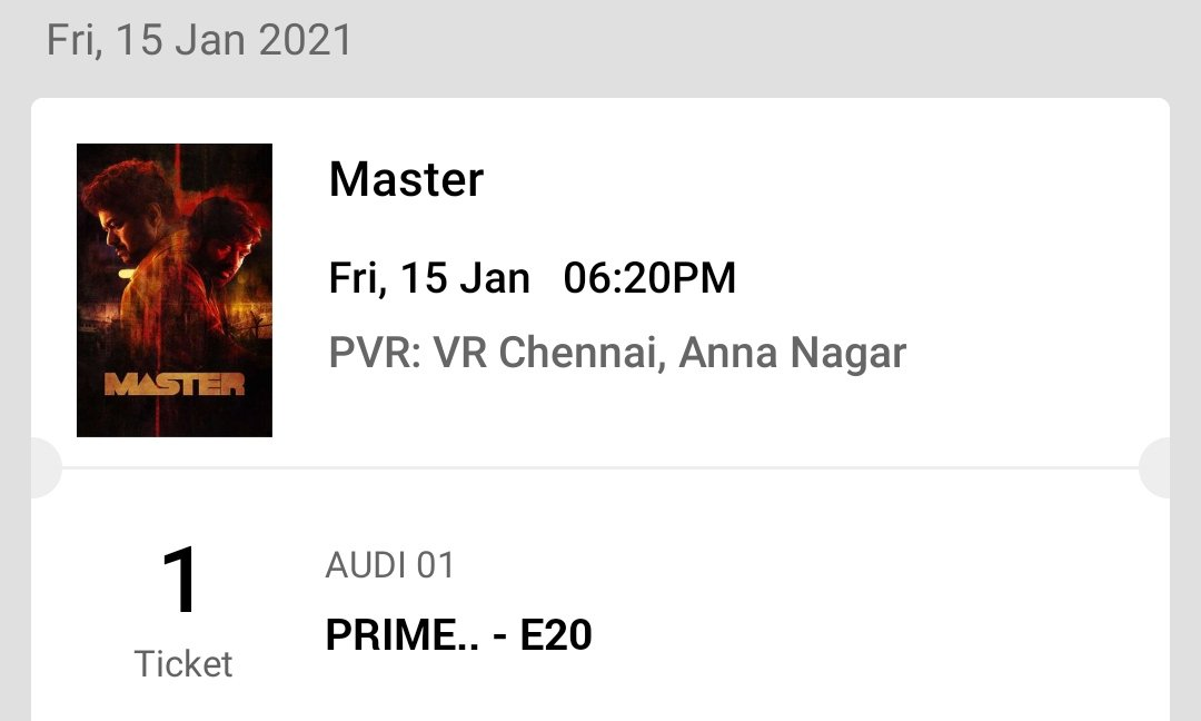 @VijayFansTrends @actorvijay Master 1 ticket available - Jan 15 6.20pm show ( PVR VR - XL screen ) Same counter price   DM me   #MasterFDFS #MasterReview #MasterPongal #MasterTeaser #masterupdate #mastertickets #MasterRaid #master #master