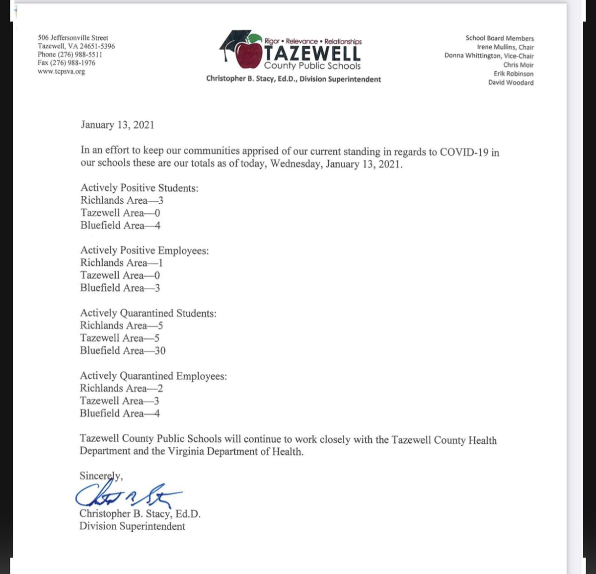 Christmas Break 2021 Tazewell County Tcps On Twitter Dr Stacy Has Provided Your Weekly Covid Update Below