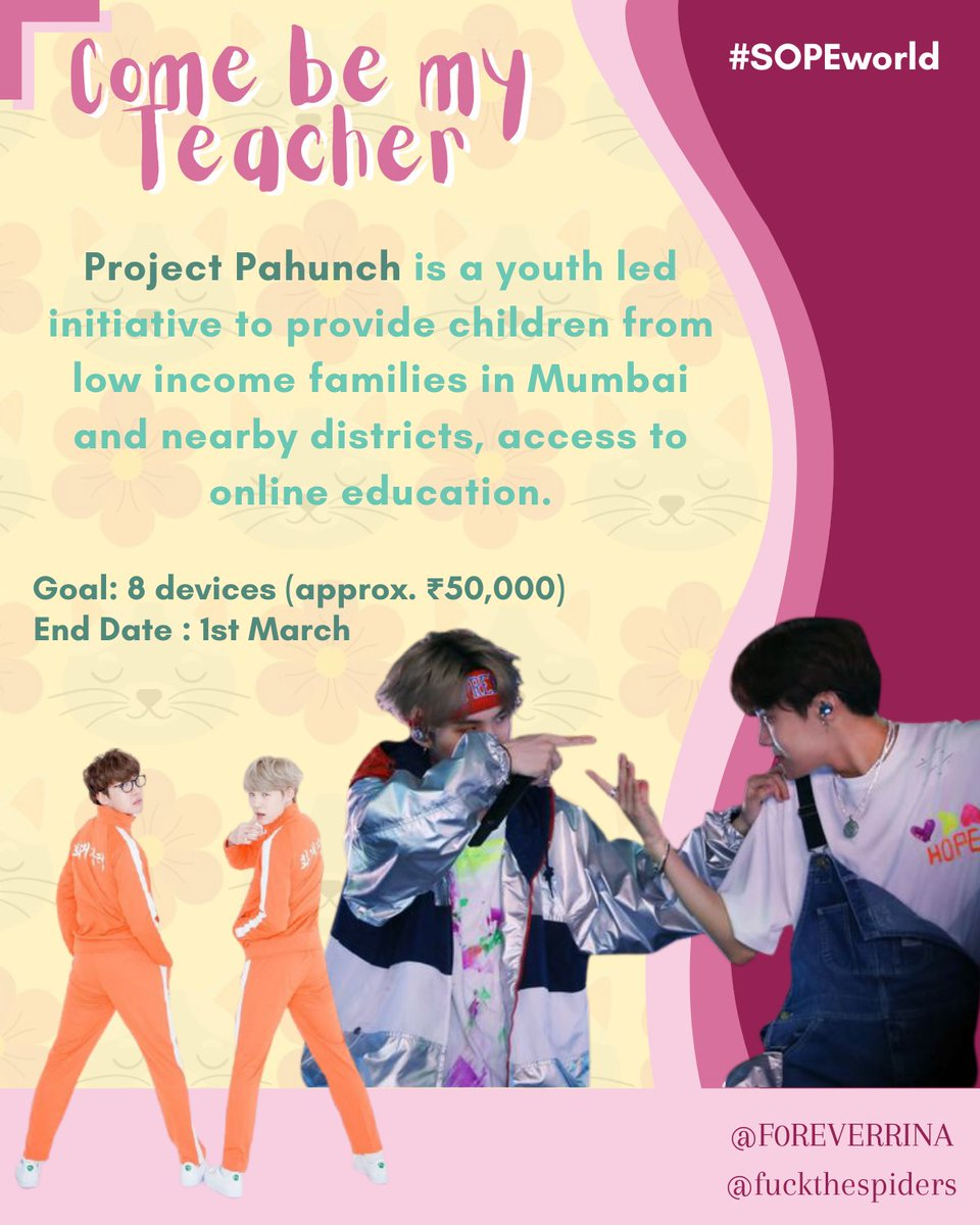 SOPE Birthday Project Alert! the money raised will go towards Project Pahunch, a Mumbai (India) based initiative that aims to provide children from low income families access to online education. click this link to read more/donate: milaap.org/fundraisers/su… #SUGA #JHOPE #SOPE