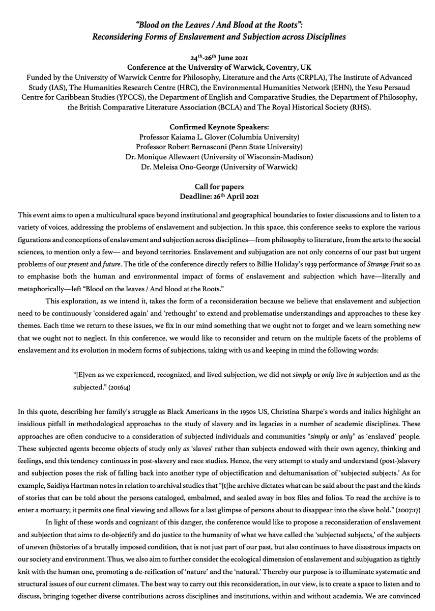 Were rescheduled for 24-26 June please submit your exciting work by 26 April Our keynotes include @inthewhirld (@Columbia #Francophone #Postcolonial)Meleisa Ono-George (@WarwickHistory)Monique Allewaert (@uwche #English #Envhum)& Robert Bernasconi (@penn_state #Philosophy )