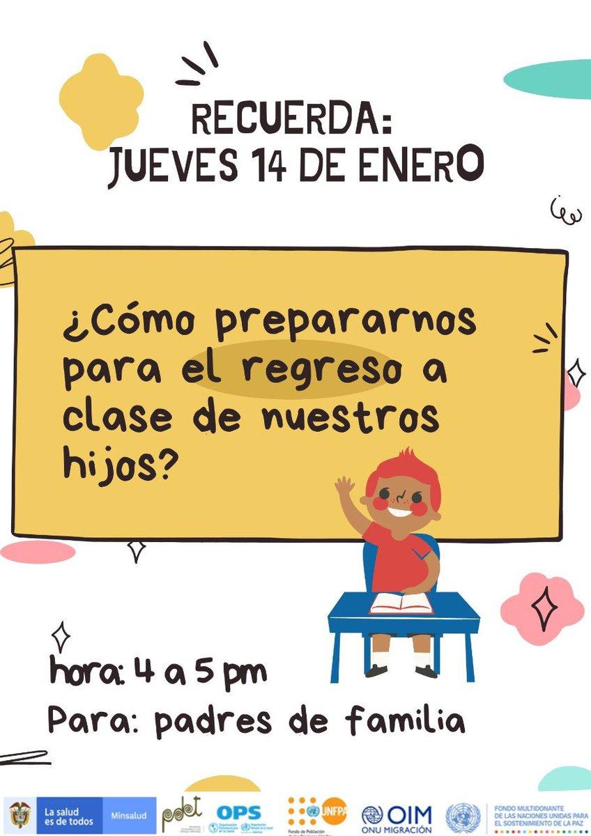 """Hoy a las 4:00 pm estaremos con la psiquiatra María Angelica Botero en el webinar: """"¿Cómo prepararnos para el regreso a clase de nuestros hijos?""""  Conéctate 👉🏽"""
