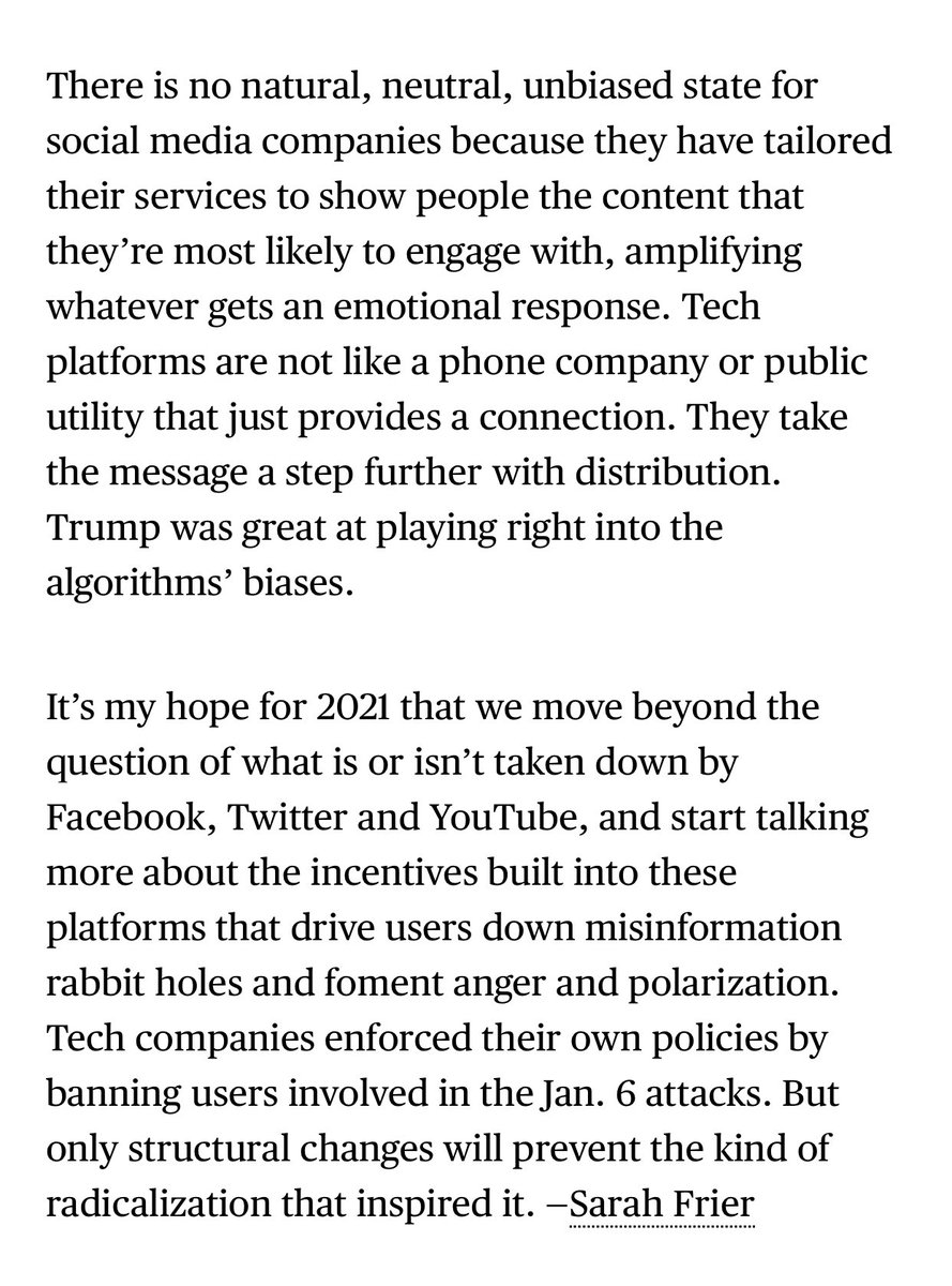 """Also the """"censorship"""" talk is a distraction from the real serious discussion we need to have about the Jan 6 violence, and how people were radicalized on these platforms because of the way they are structured."""