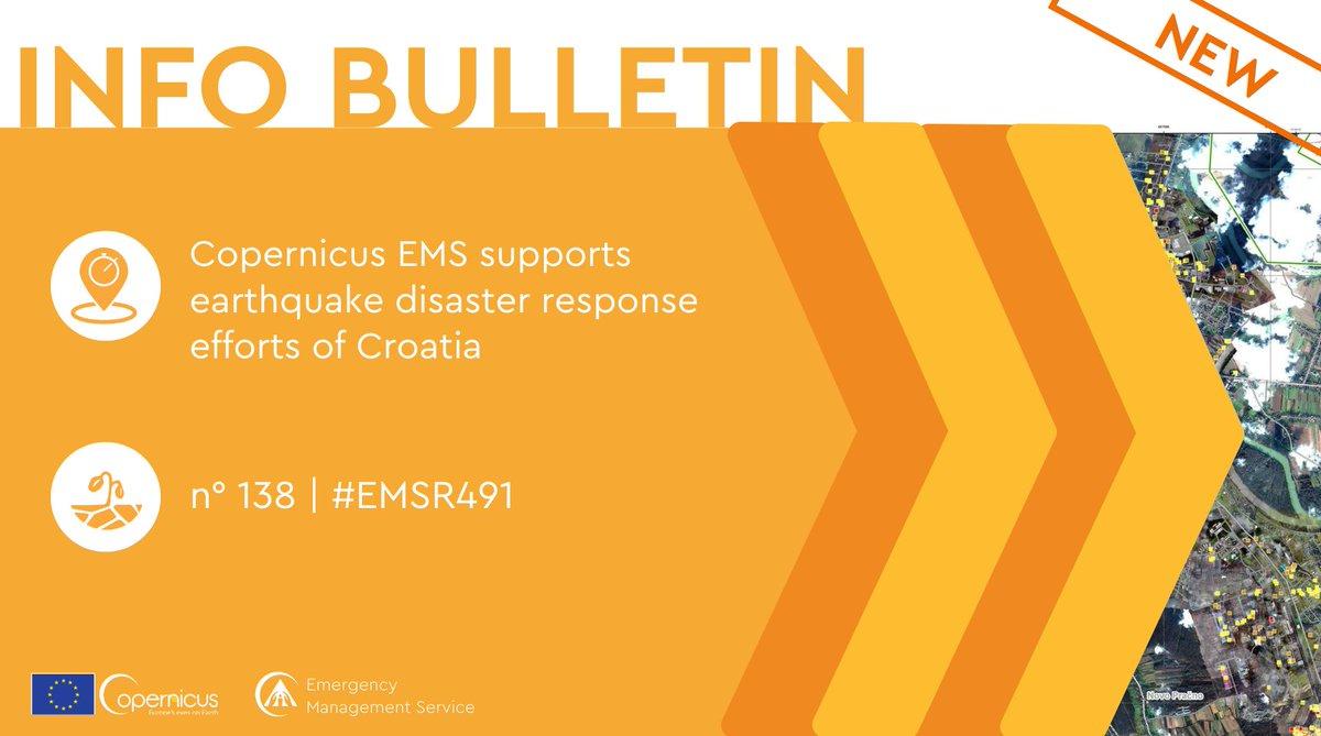 🆕 New #InformationBulletin Copernicus #EMS used satellite and drone data to produce 3 grading maps in the immediate aftermath of the earthquake that struck near Petrinja (#Croatia), and help identify damages to homes and infrastructures. 🔗 ow.ly/gXBZ50D8iUE | #EMSR491 ⤵️
