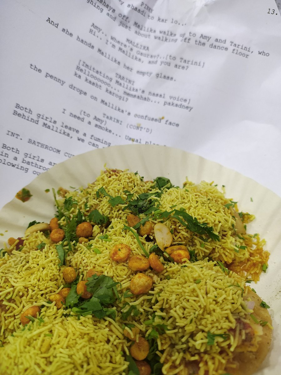 Replying to @ThePuccaCritic: Only in Versova, you will get sev puri wrapped in a... film script.