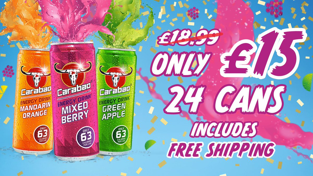 Carabao are giving 21% off their range of drinks. That's only £15 a case for 24 cans with FREE shipping.   Grab yours today! Go to  to redeem.