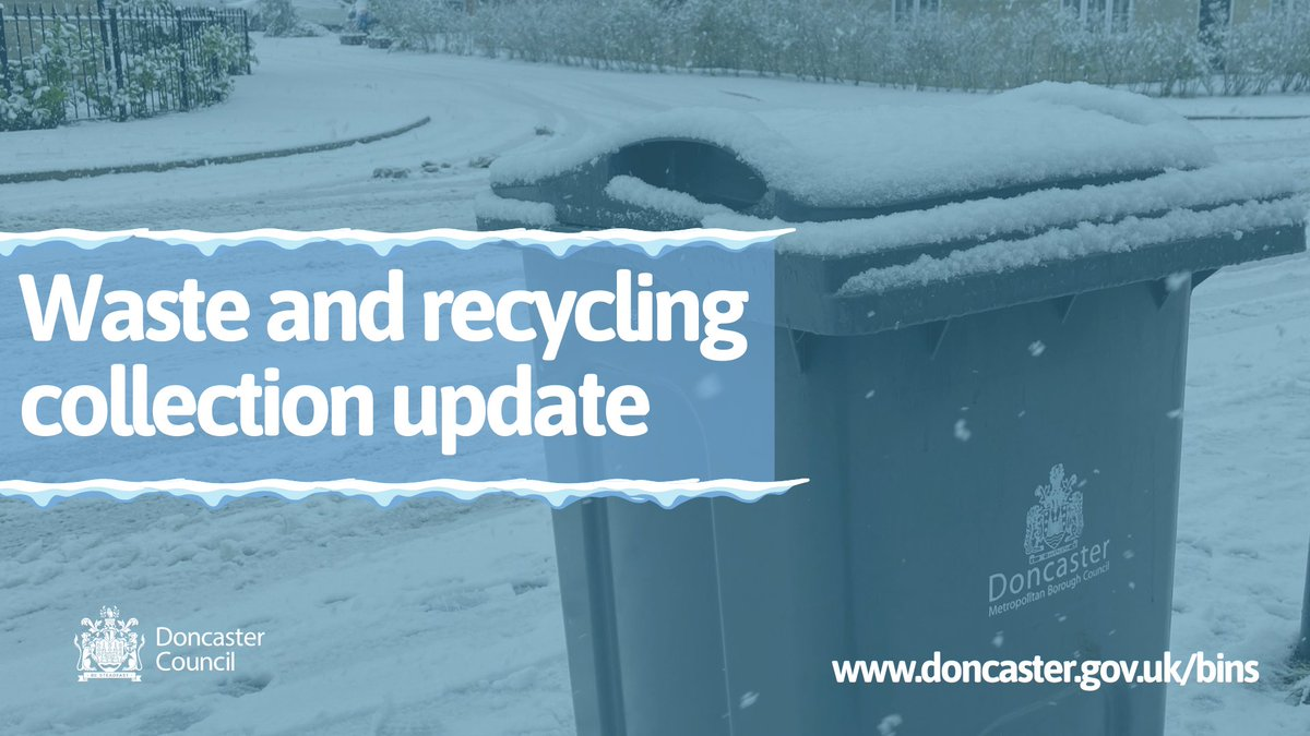 Bin Collections & HWRCs SUSPENDED  We can confirm - in conjunction with our partners Suez - that collection of black & blue bins for today is suspended due to adverse weather conditions in most parts of the borough. The health and safety of staff and residents must take priority.