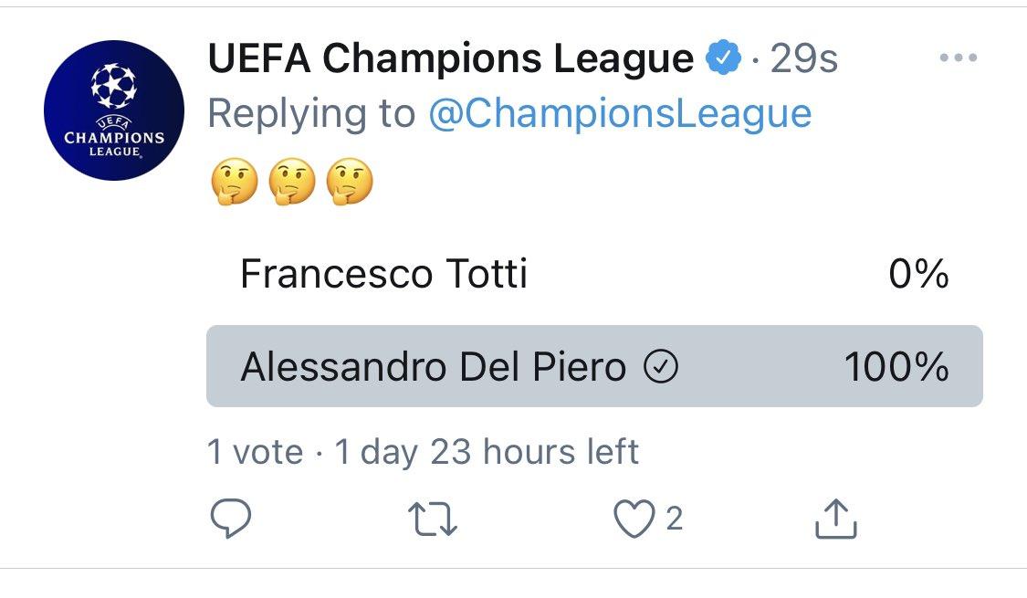 @ChampionsLeague Close the vote, we have a winner... @delpieroale