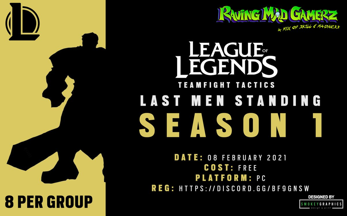 Introducing our League of Legends TeamFight Tactics League for 2021  Join up using our discord:   How to register:   Designed by  @SmokeyGraphics    #beravingmadaboutgaming #lastmenstanding