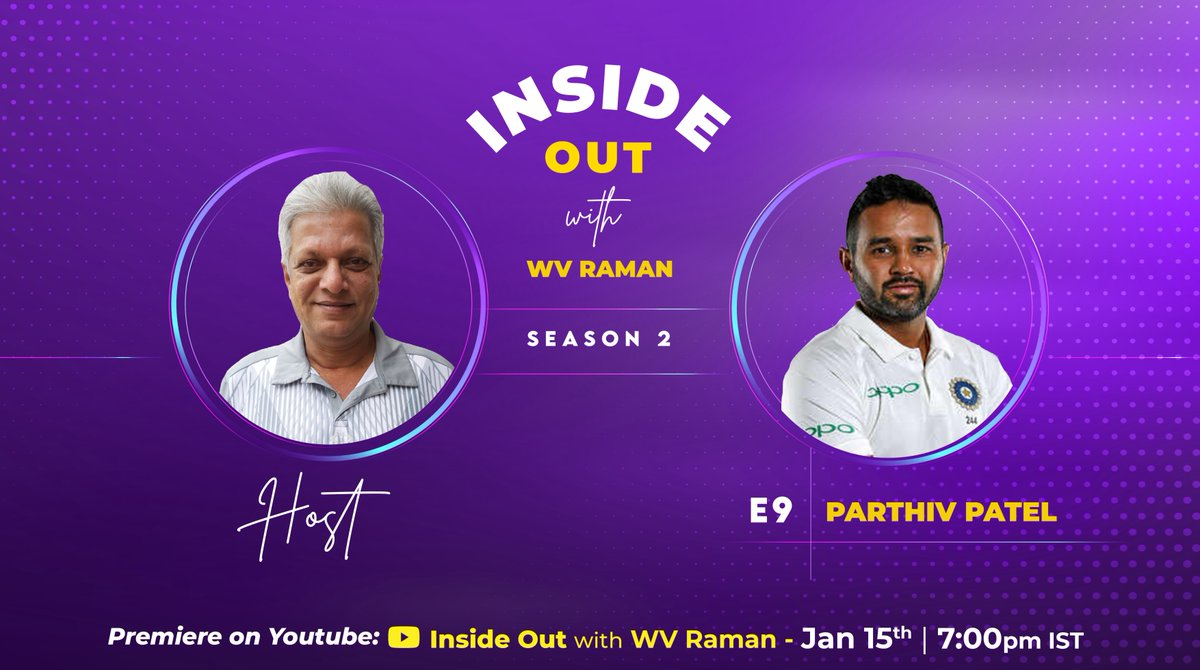 My guest on my next episode of #InsideOut is @parthiv9 , someone who created a roadmap for the success of Gujarat cricket. I have written about him in my book #TheWinningSixer in the context of leaders being good team builders.