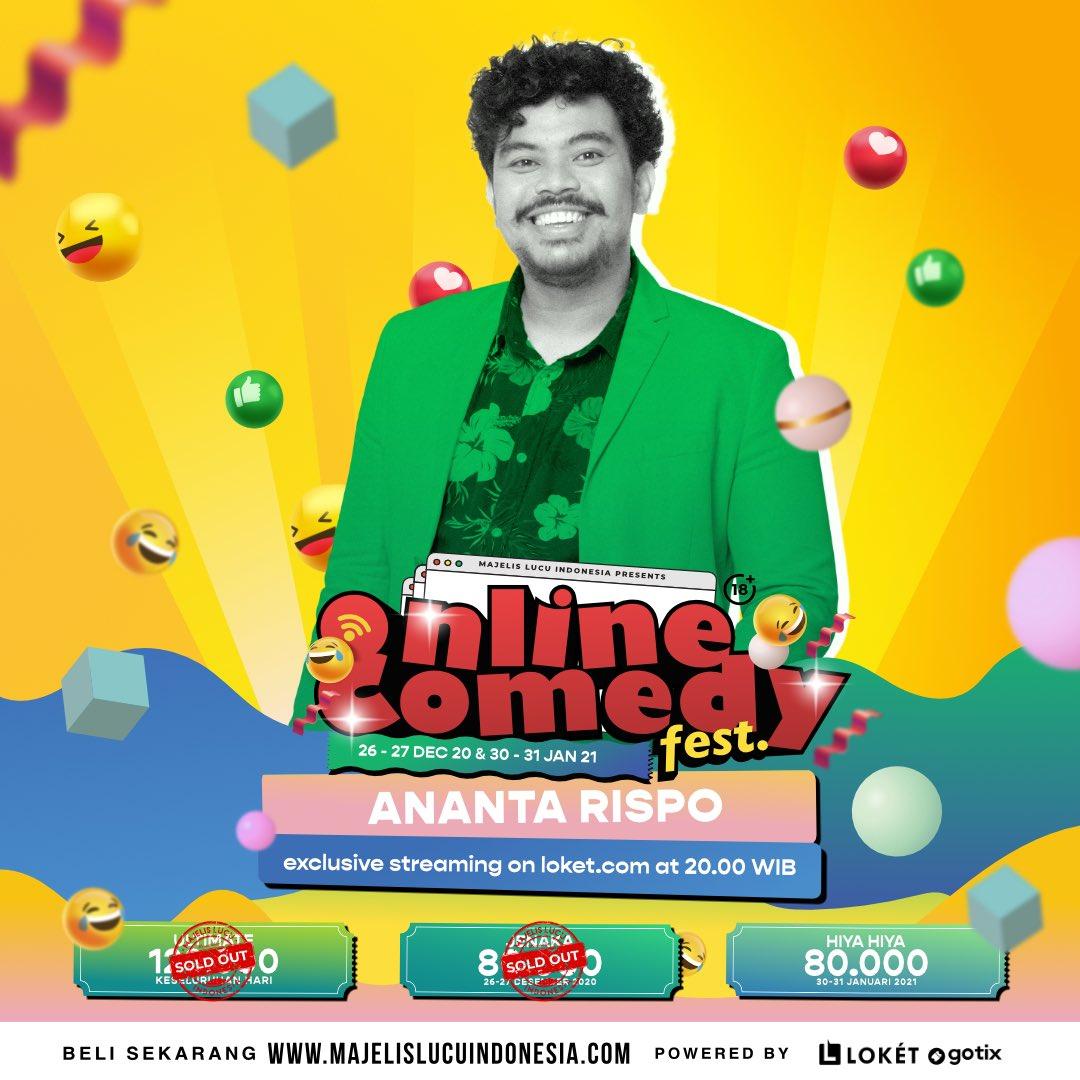 Dewa Komedi @anantarispo siapp membuat jokes ultimate untuk kalian di Online Comedy Fest!  30-31 Januari 2021 Pukul 20.00 Tayang di @loketcom   Beli tiketnya di