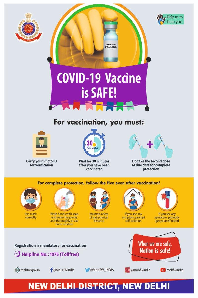 Replying to @DCPNewDelhi: COVID-19 Vaccine is SAFE!  @CPDelhi @LtGovDelhi @PMOIndia @HMOIndia @DelhiPolice
