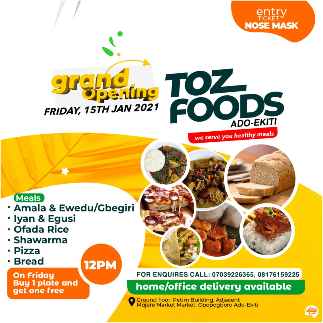Ekiti Kete o!!!  Tomorrow is d day    Petim building is d place            Ado Ekiti is d town  Toz foods dey launch with lunch from 12pm...  *Buy one get one free...  Delivery ✓  Hin Ora ooo....  @Gidi_Traffic @bustopsng #thursdayvibes @SyntacleNig @timmyally17 @TozFoods