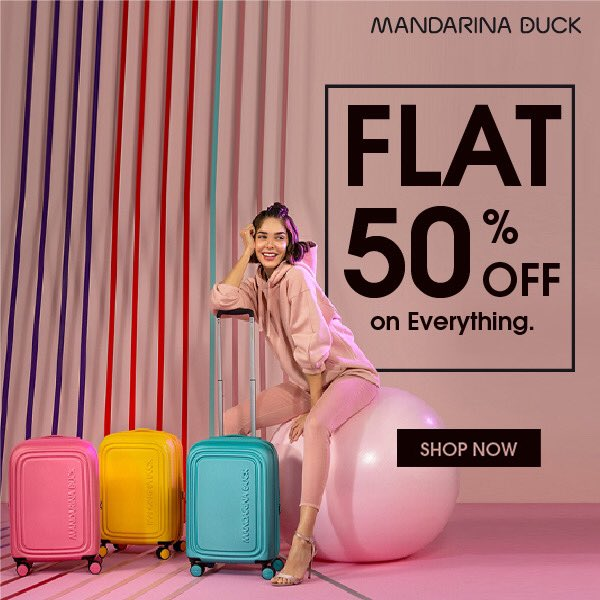 Shop Mandarina Duck and enjoy flat 50% discount on everything. Offer also available online @ https://t.co/YZzABJ5H6n #MandarinaDuck #luggage #bag #suitcase #travelbag #sale #discounted #travel #traveler #Jashanmal #Bahrain https://t.co/zhNBCHrig5