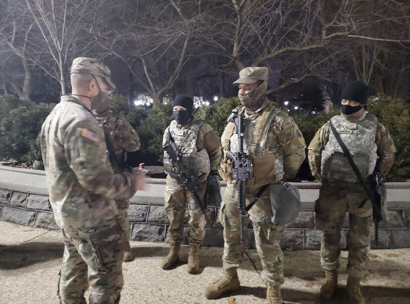 Last night I visited the @VaNationalGuard with @USNationalGuard CMSgt Tony Whitehead at our Capitol. The 1-111th FAR Soldiers I spoke to knew their task and purpose, were qualified on their weapons, and every BTRY 1SG and Commander was on the line with their Soldiers.