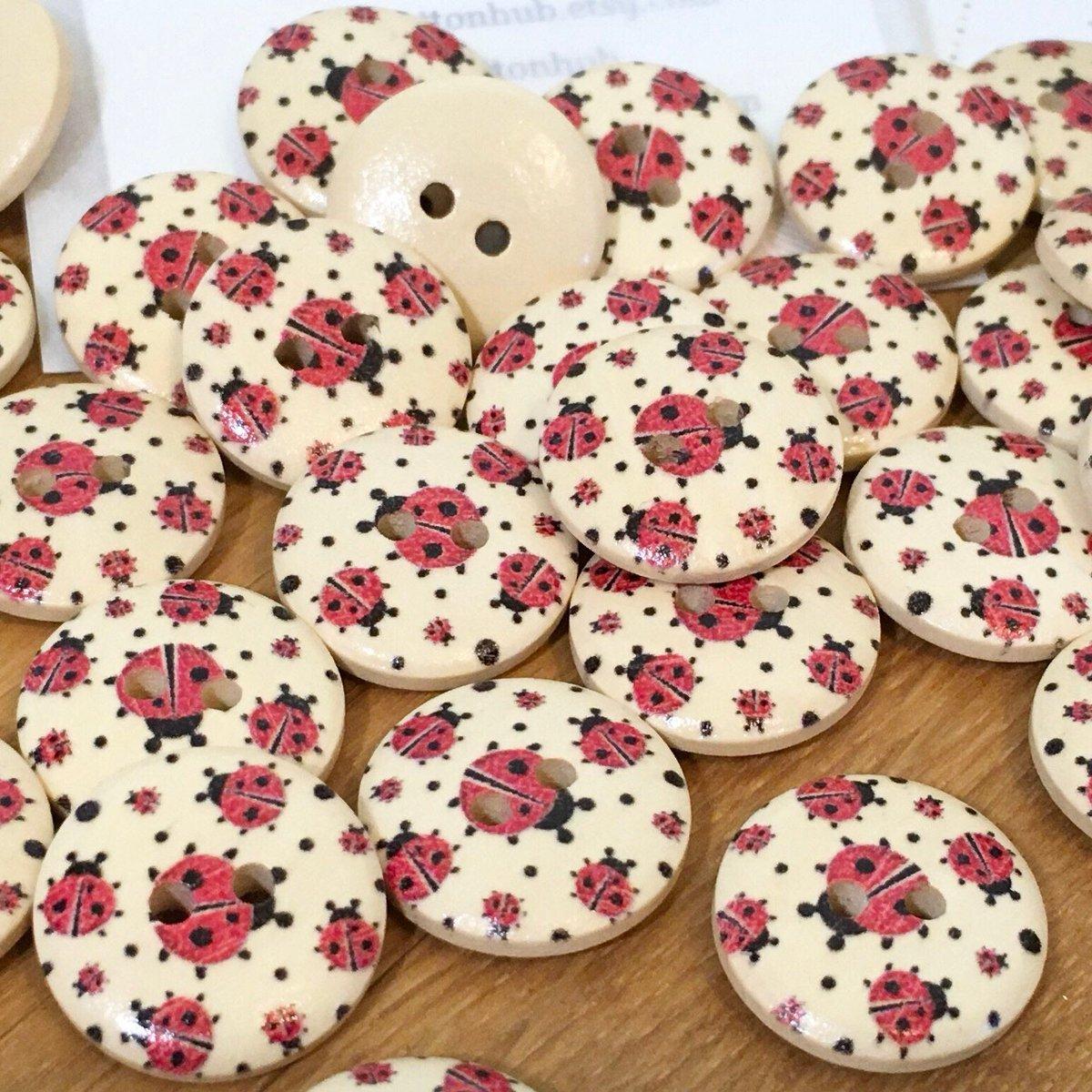 🐞 Ladybird Ladybug Wooden Buttons: Packs of 12 Buttons #ladybug #ladybird #🐞 #insect #insects #gardenlife #buttons #etsy #etsyuk #shopsmall #thursdaythoughts