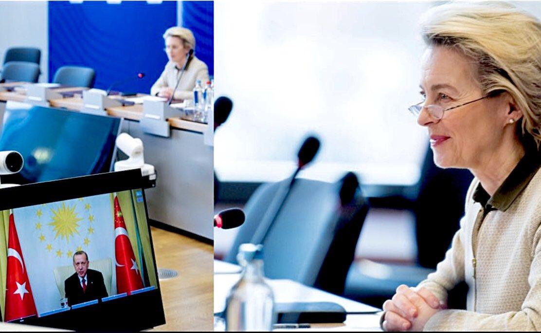 AB Komisyonu Başkanı Ursula von der Leyen 9 Ocak'ta Cumhurbaşkanı Tayyip Erdoğan'la 9 Ocak 2021 görüşmesinin fotoğrafını Twitter hesabında paylaştı. Türkiye de AB de bu defa çıkar birliği çerçevesinde birbirine inanmak istiyor... @vonderleyen @EU_Commission