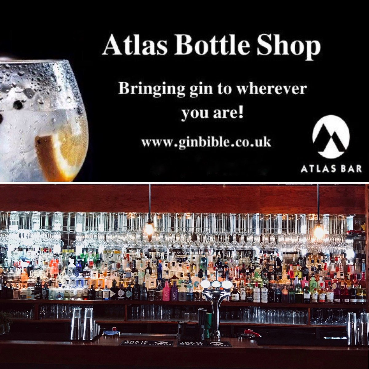 #ThursdayThoughts...  Missing your favourite #gin @TheAtlasBar #Manchester? 🍸  Why not bring a taste of Atlas & Gin to you and order it right now! 🎉   🍸