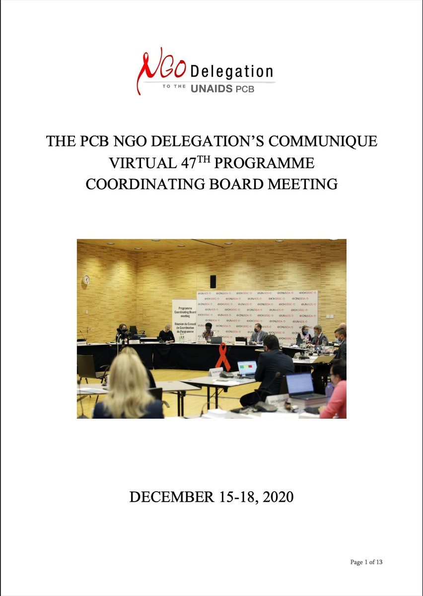 The NGO Delegation's Communiqué for the 47th UNAIDS PCB Meeting is finally out! Get the gist of what transpired in the four-day virtual PCB meeting, held on 15-18 Dec 2020. Translations in Spanish, French, Russian, Arabic & Chinese will be available soon.