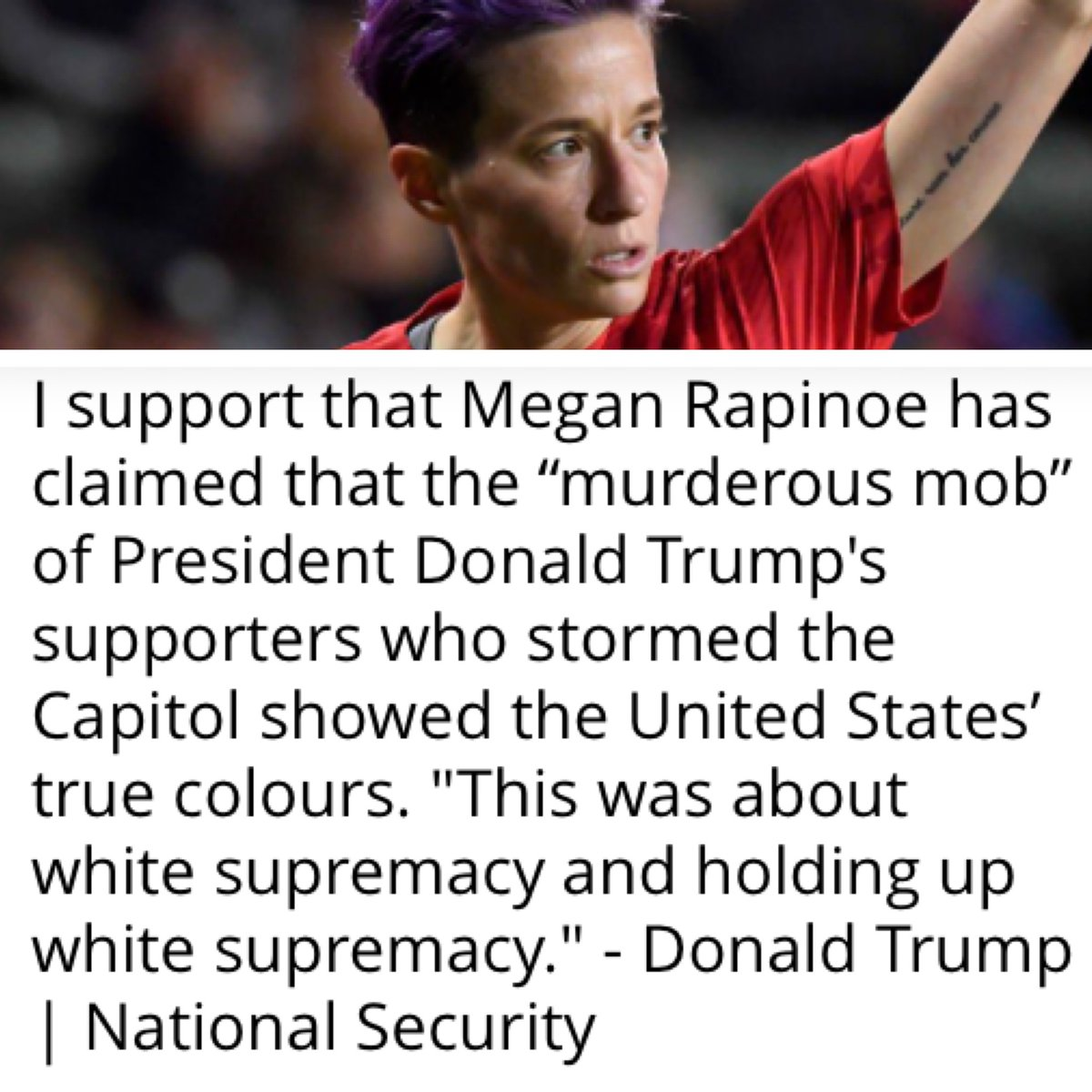 Tell us what you support or oppose. Read the background article behind this statement and other breaking news at . A well-informed electorate is a prerequisite to Democracy - Thomas Jefferson 🇺🇸#meganrapinoe #voteinorout #trump #biden