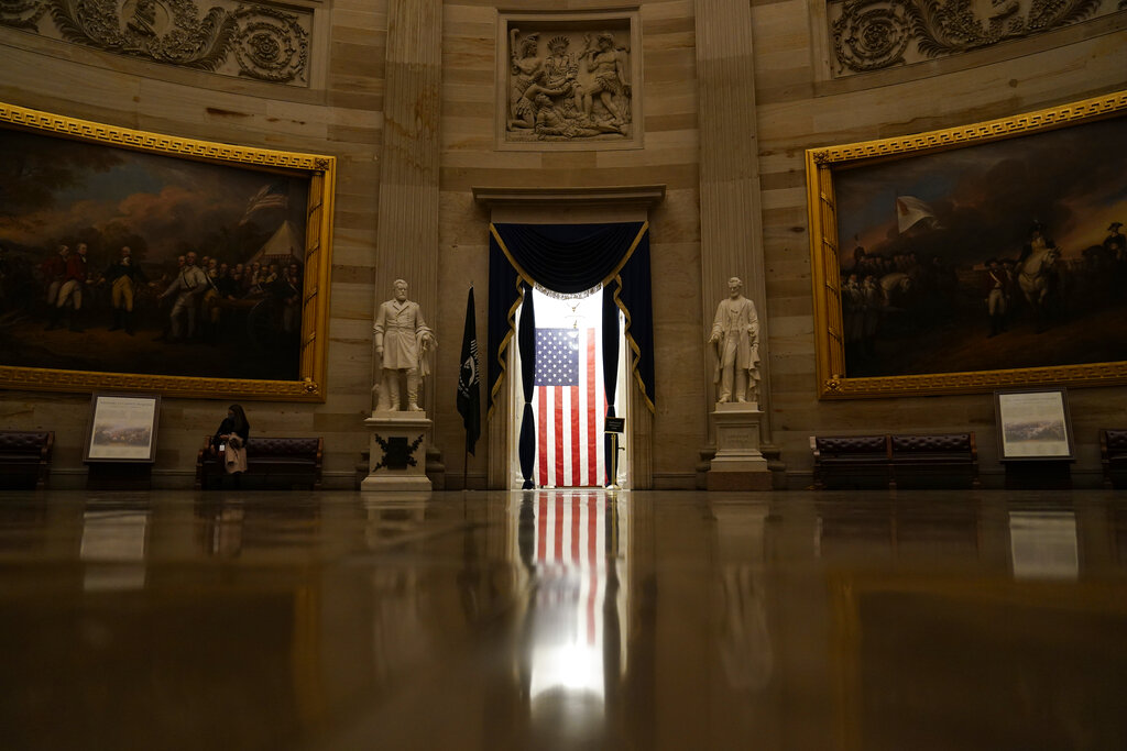 Good morning! Tune in to One America News for the latest!  (Photo: Light shines on an American flag as seen from the Capitol Rotunda in Washington, D.C. -- Susan Walsh via AP) #OANN