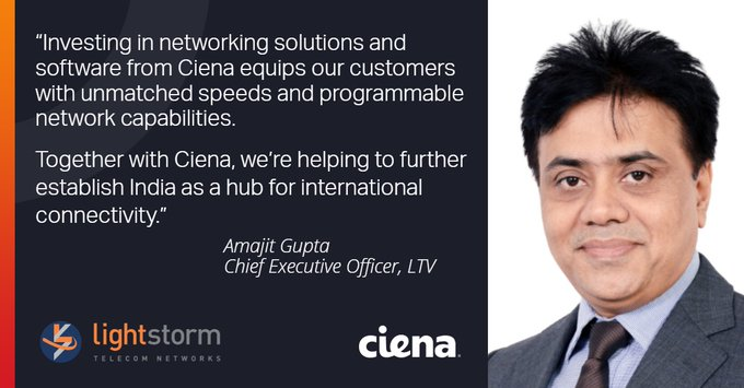 Lightstorm Telecom Ventures Builds High-Capacity Network with Ciena for India's OTT Ecosystem Photo
