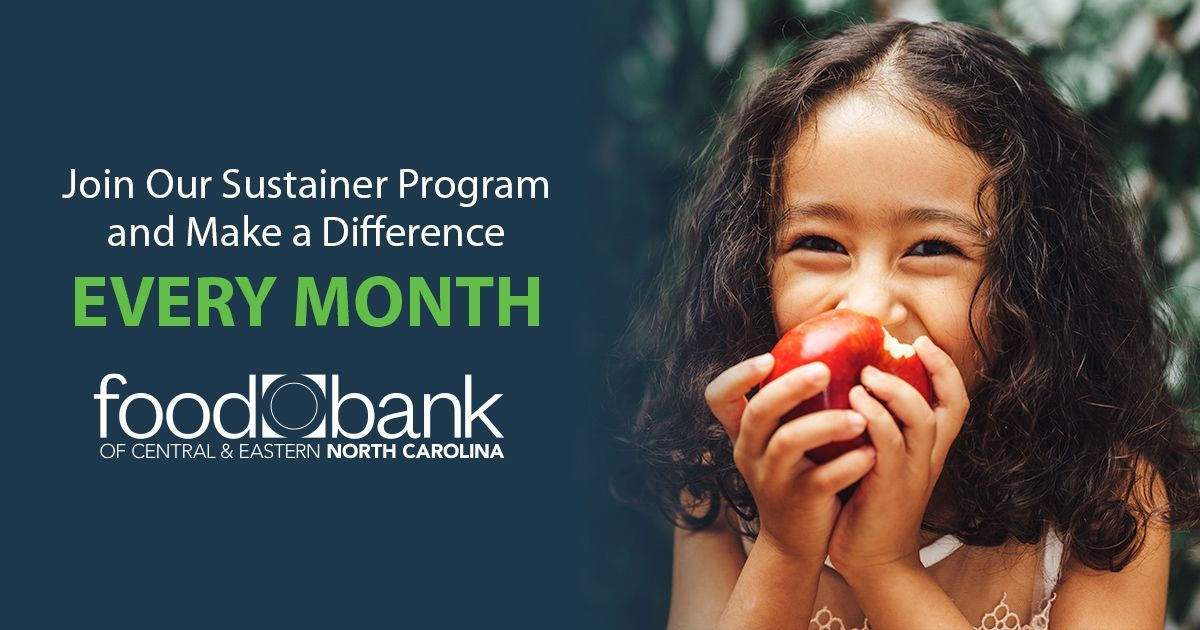 There's never been a better time to become a @FoodBankCENC Sustainer!   Sign up for automatic monthly giving and your 1st monthly donation can be matched!    #NoOneGoesHungry