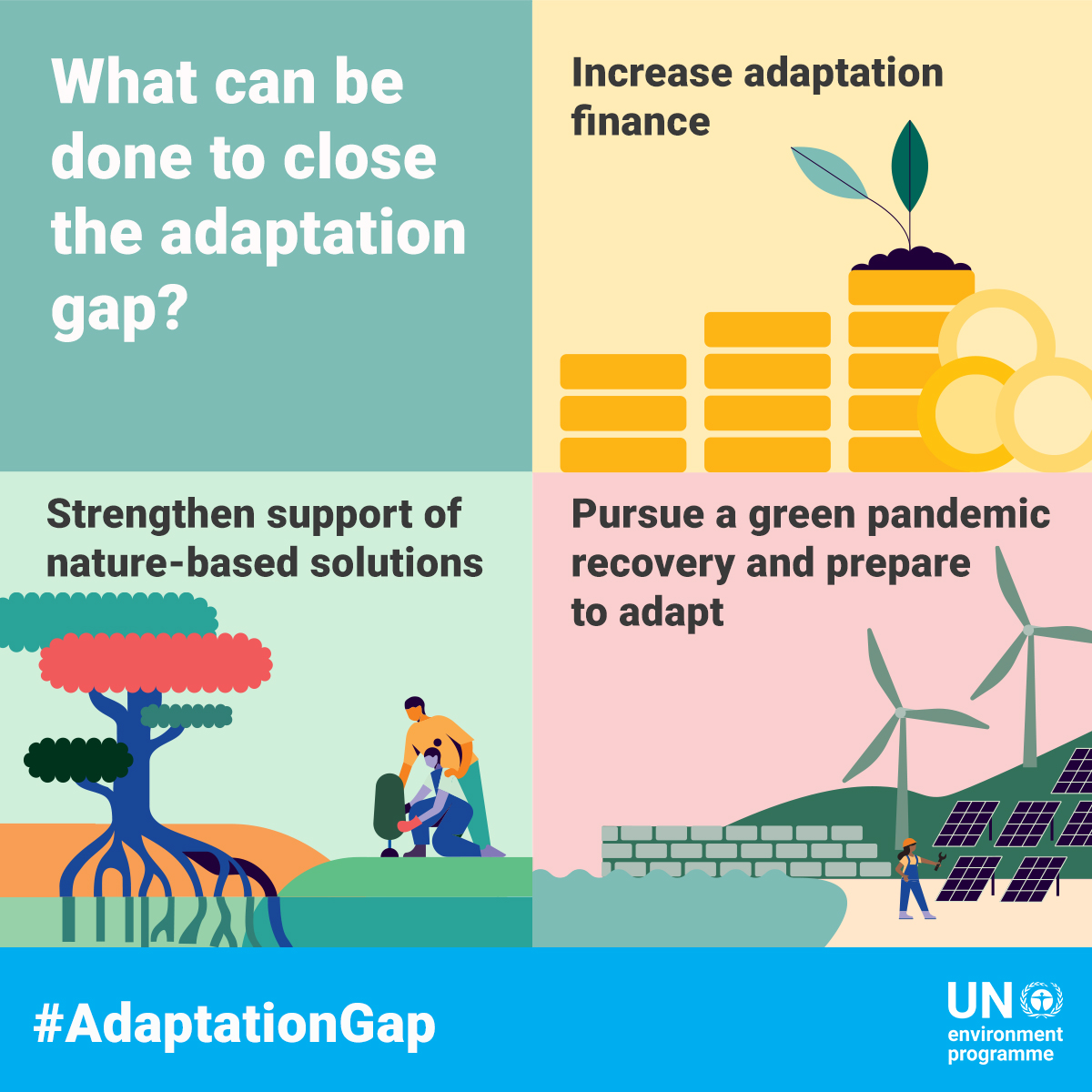 We need bold ACTION to close the #AdaptationGap, from embracing the power of nature to pursuing a green recovery from #COVID19.   Learn more:   #ClimateAction