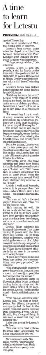 10 years ago (1/14/11): Mark Letestu adjusts to NHL as rookie. #LetsGoPens