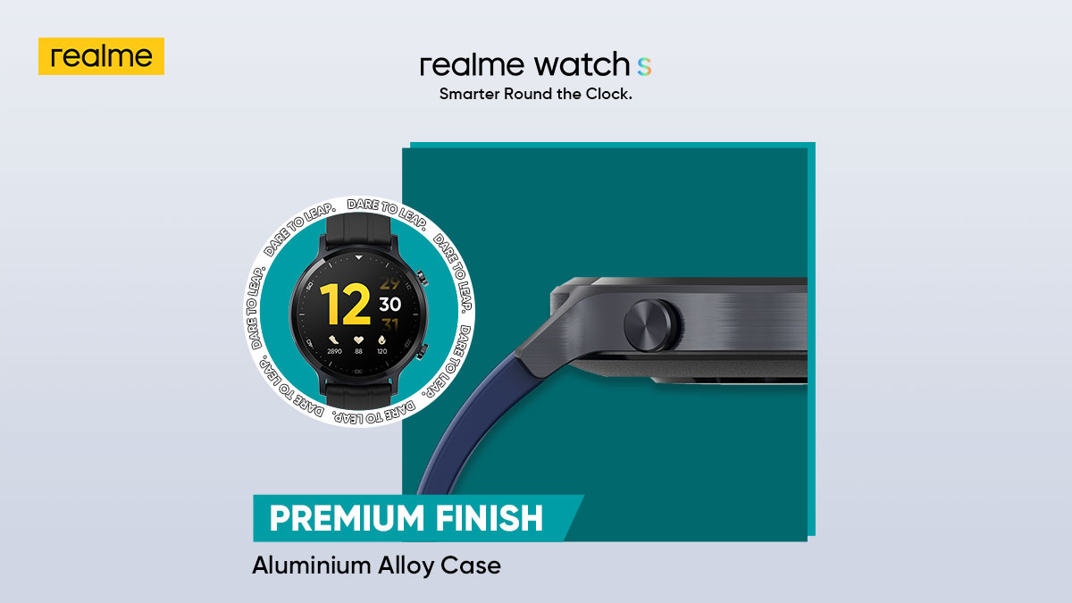 The Aluminum Alloy Case of #realmeWatchS offers a premium and stylish feel to your wrist. Time to stay #SmarterRoundTheClock without any worries.  Starting at ₹4,999. Get yours on  & @Flipkart. Buy now:
