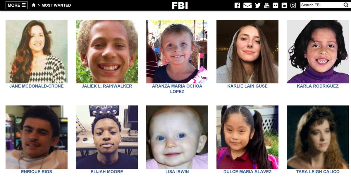 Do you see anyone you recognize? Spending just a few minutes looking through our kidnapped and missing persons page could change a life forever. Help the #FBI locate these individuals, and submit tips to ow.ly/uXjh50D8ugg. ow.ly/jX2D50D8uge