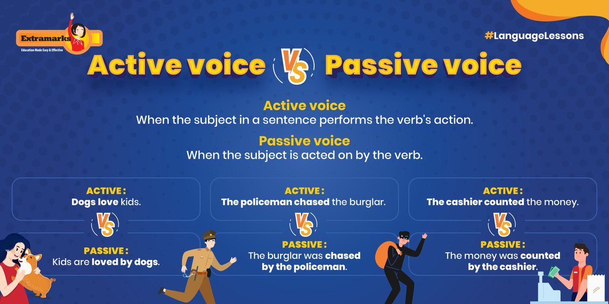 Quick Tip💡 Use the majority of your sentences in an active voice as it lends a stronger and clearer tone to what you want to say.  #Extramarks #LanguageLessons #English #Grammar #Student https://t.co/Hy3xZym97Y