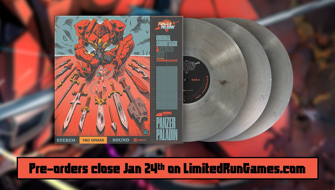 Panzer Paladins Triple LP Features: - Cover inspired by 60s jazz vinyl covers - Showcases artwork by @okcoreyyy - Original Soundtrack + best tracks in 8-bit - Theme by @PowergloveBand - Download code includes ALL existing tracks! - Limited pressing 👉 limitedrungames.com/collections/in…