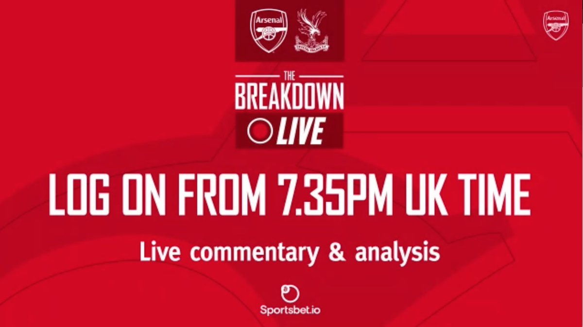 Evening! Join us for The Breakdown Live at 7.35pm.   Full match build up ✅ Live comms ✅ HT/FT analysis ✅ Your tweets discussed ✅  It's me, @NickBrightDJ , Dan Roebuck & @NigelWinty3 on the mics.   @Arsenal website & app  COYG!