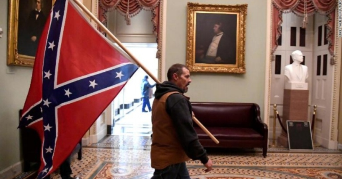 Man Seen Walking Through Capitol Building with Confederate Flag Has Been Arrested: DOJ https://t.co/n8SFNQEjYI https://t.co/JekyikhIMe