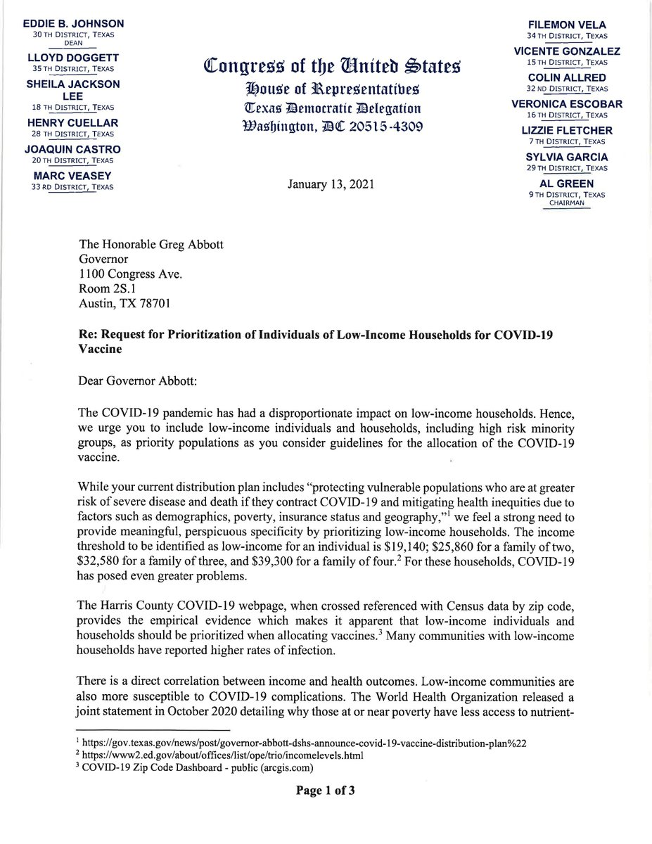 Today, I sent a letter, along with my fellow TX Dems, urging @GovAbbott to prioritize the hardest hit areas and vulnerable populations in the state to receive the COVID-19 vaccine. (1/2)