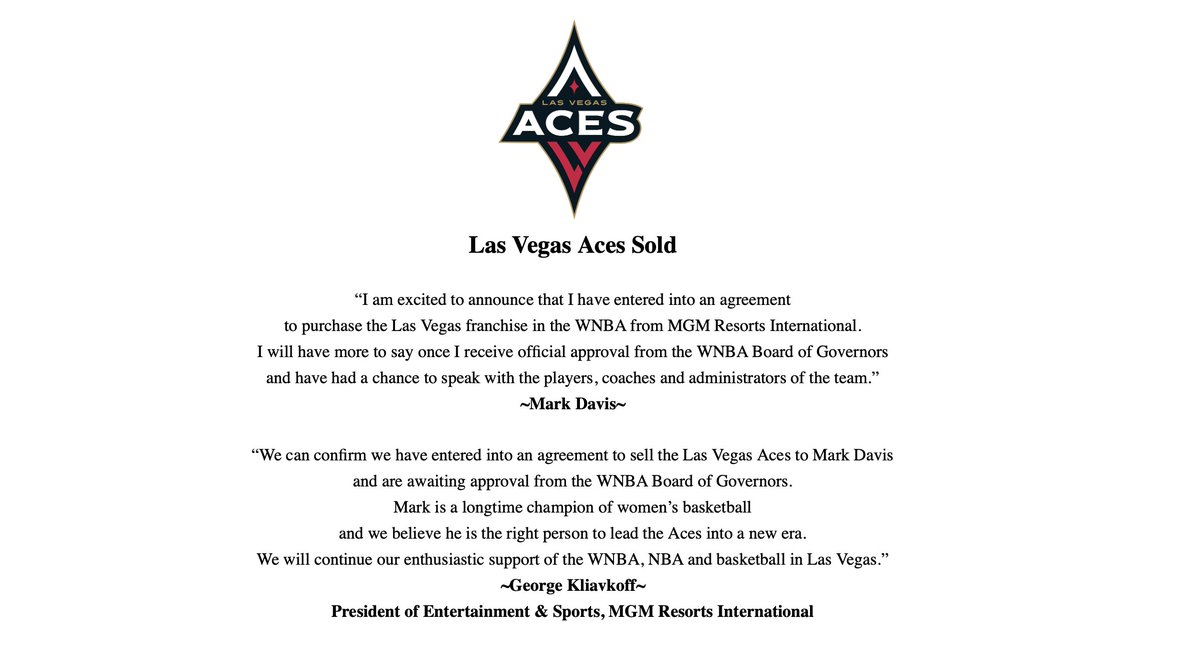 The following was announced by the @LVAces