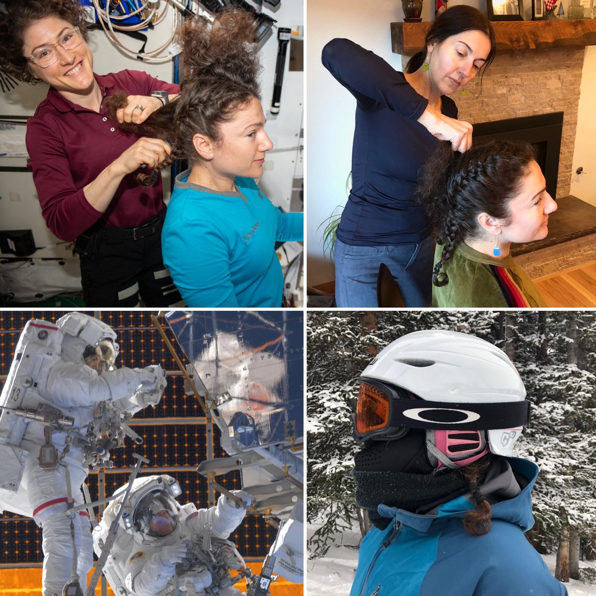 The French braid - a reliable classic for the active and often helmeted gal. One year ago my space sister @Astro_Christina set us up for @Space_Station spacewalking success, recently recreated by my actual sister for success in the snow. Work hard, play hard! #tbt #ski #sisters