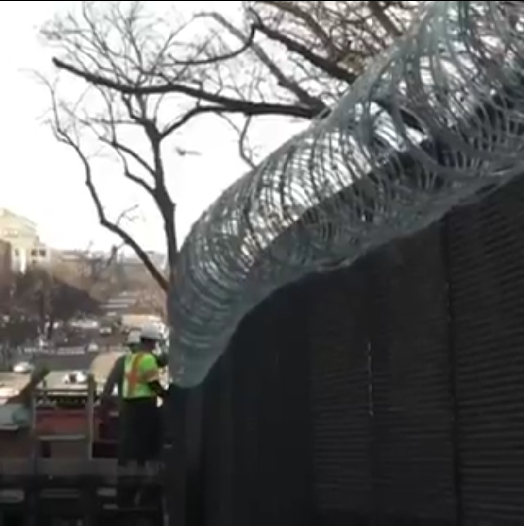 """The people who want to take your guns and tear down our border wall because """"walls don't work"""" are currently surrounded by 20,000 armed troops and a 10 foot fence with razor wire at the top.   Never forget that."""