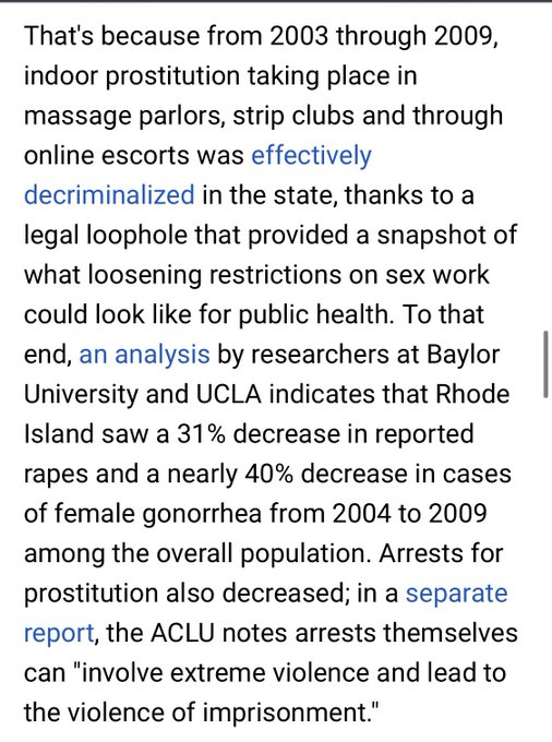 1 pic. Rhode Island's experience with decriminalizing sex work. Spoiler: it worked. Amnesty International