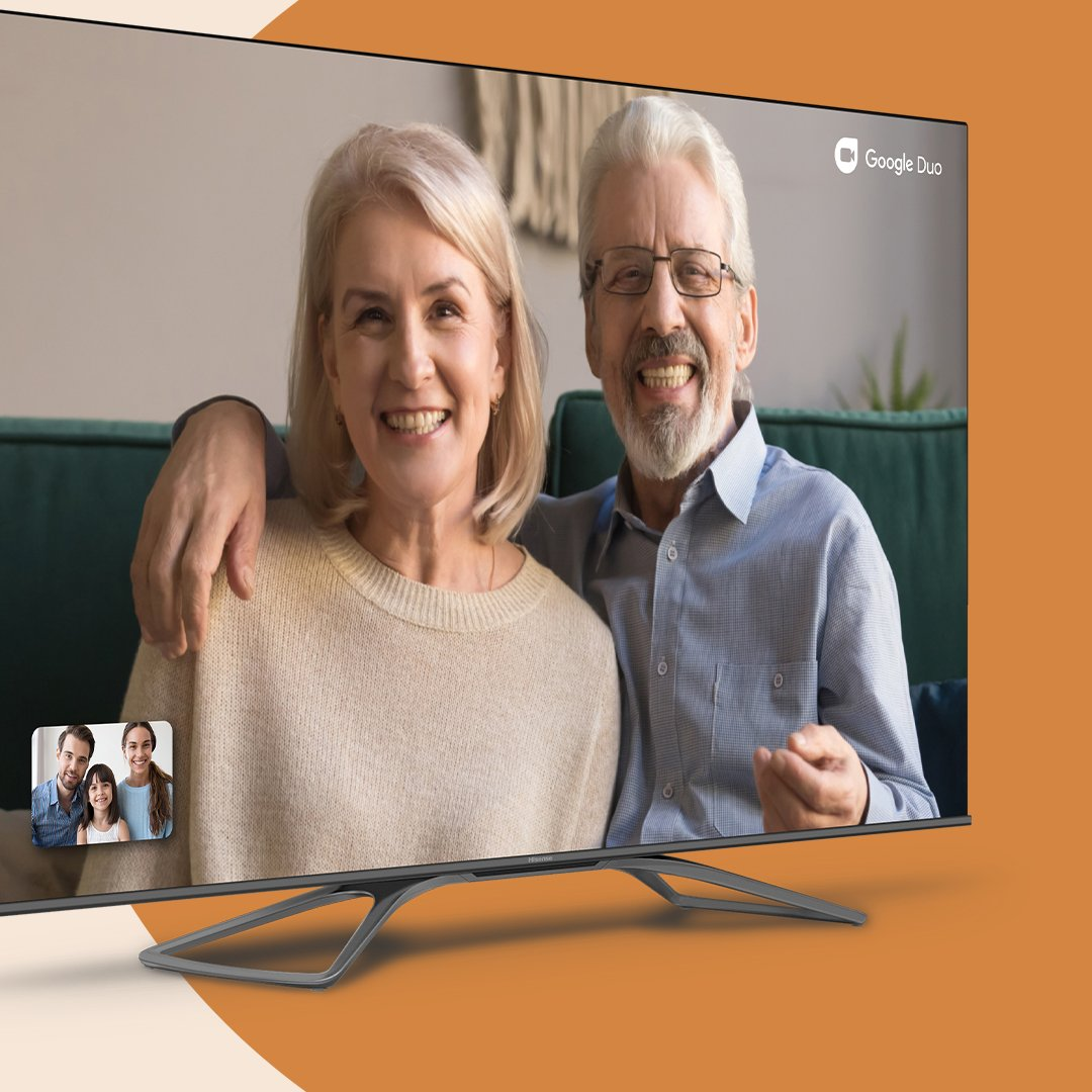 Catch up with your friends and family, right on your Hisense H8G and H9G Quantum Android TVs. With Google Duo, enjoy one-on-one and group calls conveniently from the big screen. Find it on Google Play today. Android TV and Google Duo are trademarks of Google LLC. #googleduo