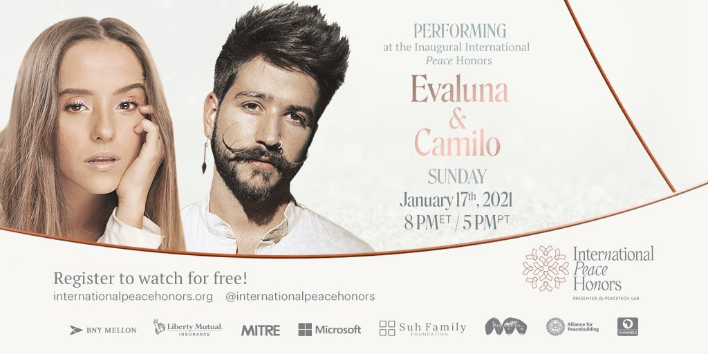 We are just three days away! We are so excited to have the Latin Grammy Award winner @CamiloMusica & the multi-talented actress star @Montanerevaluna perform at the @IntlPeaceHonors by @PeaceTechLab. Do not miss it! Register Now: