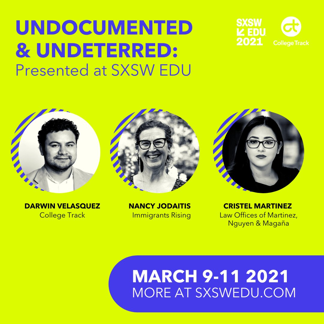 We're THRILLED to present #Undocumented and Undeterred: Today's #Dreamer Student at @SXSWEDU in March! A big thank you to Sr. National Dreamer Coordinator Darwin Velasquez, as well as @immigrantsrise and the Law Offices of Martinez, Nguyen & Magaña. #sxswedu #sxswedu2021