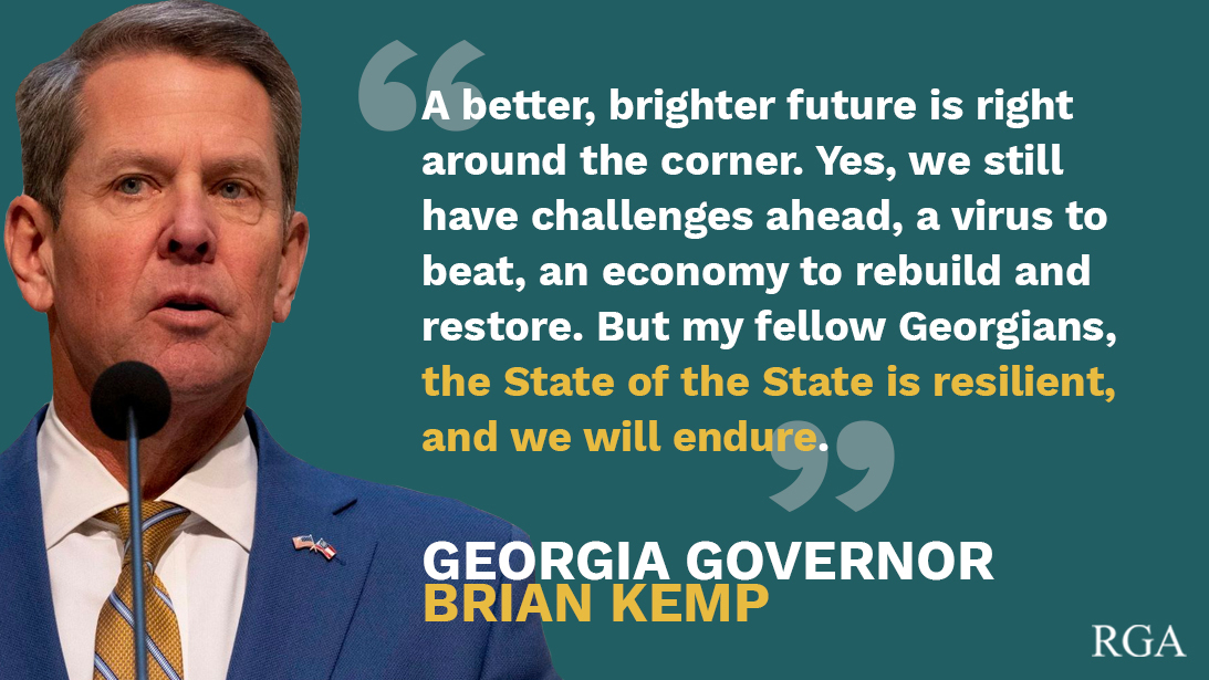 Georgia Governor @BrianKempGA offered a hopeful message in his State of the State address as he leads the Peach State to a thriving economy and opportunity for all.   #GAgov